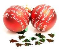 Esferas do vermelho do Natal Imagens de Stock