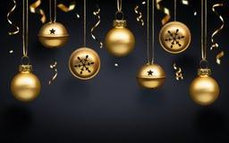 Esferas douradas do Natal Imagens de Stock