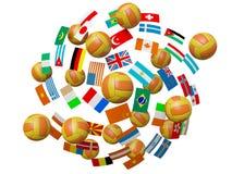 Esferas e bandeiras do voleibol ilustração do vetor
