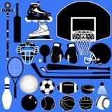 Esferas e equipamento dos esportes no vetor Fotografia de Stock