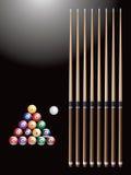 Esferas e varas de bilhar Imagens de Stock