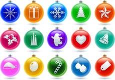 Esferas grandes do Natal ajustadas Foto de Stock