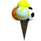 Esferas misturadas em um cone de gelado Fotos de Stock