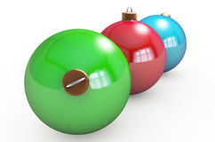 Esferas Multi-colored do Natal que penduram no branco Cores do RGB 3D r Fotografia de Stock