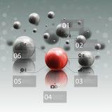 Esferas no movimento no fundo cinzento Esfera vermelha ilustração stock