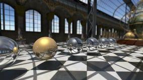 Esferas oprganic surrealistas animadas en interior del victorian del steampunk representación 3d 4K