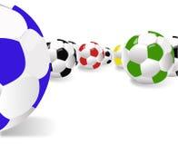 Esferas para o futebol Fotos de Stock Royalty Free