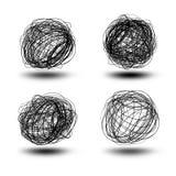Esferas pretas do scribble Fotografia de Stock Royalty Free