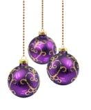 Esferas roxas do Natal Fotografia de Stock Royalty Free