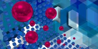 Esferas roxas que voam em um espaço da tecnologia Fotos de Stock
