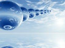 Esferas sobre o mar ilustração do vetor