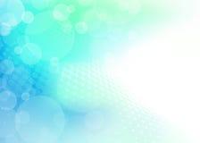 Esferas translúcidas abstractas en fondo del verde azul Ilustración del Vector