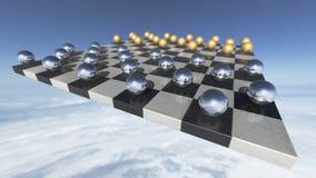 Esferas transparentes surreais em uma placa da xadrez rendição 3d ilustração do vetor