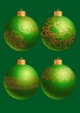 Esferas verdes de ano novo ilustração do vetor