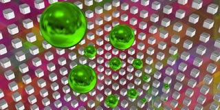 Esferas verdes que voam em um espaço da tecnologia Fotos de Stock
