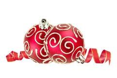 Esferas vermelhas bonitas do Natal Imagens de Stock