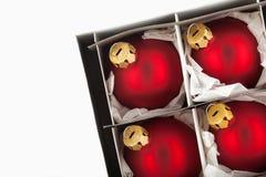 Esferas vermelhas do Natal fotografia de stock