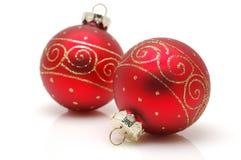 Esferas vermelhas do Natal Imagem de Stock Royalty Free