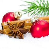 Esferas vermelhas do xmas Fotografia de Stock Royalty Free