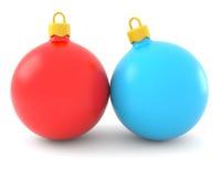 Esferas vermelhas e azuis do Natal Fotografia de Stock