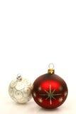 Esferas vermelhas e de prata do Natal Imagens de Stock