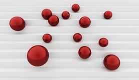 Esferas vermelhas no conceito das escadas Imagens de Stock Royalty Free