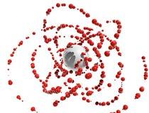 Esferas vermelhas que voam em torno da esfera Fotografia de Stock