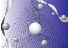 Esferas y cintas que vuelan en espacio Foto de archivo libre de regalías