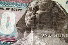 Esfinge na cédula egípcia Fotos de Stock Royalty Free