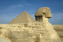 Esfinge y gran pirámide Imagen de archivo