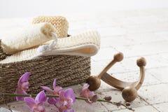 Esfoliação ajustada antes de uma sessão da massagem Fotografia de Stock