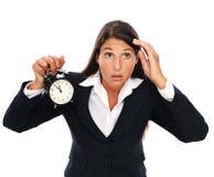Esforço - a mulher de negócio está atrasada Fotos de Stock
