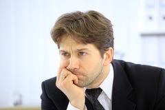 Esforço ou depressão do homem de negócio isolado Fotografia de Stock