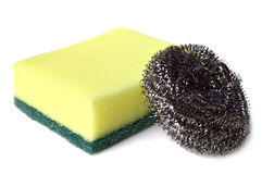 Esfregue a esponja e as palhas de aço Imagens de Stock