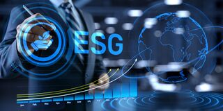 Free ESG Environmental Social Governance Business Strategy Investing Concept. Businessman Pressing Button On Screen Royalty Free Stock Photos - 217096828