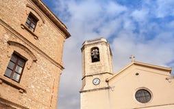 Esglesia de Calafell - katolsk domkyrka i gammal stad Royaltyfri Fotografi