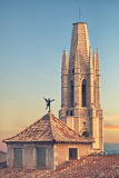 Esglesia de Sant Feliu Basilica in Girona Stock Photos
