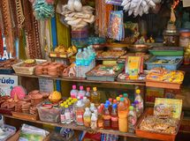 Market Stall in Tamil Nadu. Market stall in Chennai with a variety of spices, drinks and sweetmeats Stock Image