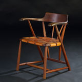 Esherick Chair. Vintage wooden and leather chair Stock Photography