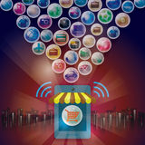 Eshop online di acquisto Pagamenti sociali di media Immagine Stock