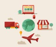 Eshop, online shopping, flat design. Vector Royalty Free Stock Photo