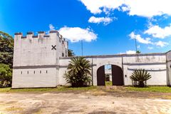 Fort Nongqayi National Monument Eshowe Zululand South Africa. ESHOWE, KWA-ZULU NATAL, SOUTH AFRICA - JANUARY 4, 2018: Closeup midday view of Fort Nongqayi  in Stock Images
