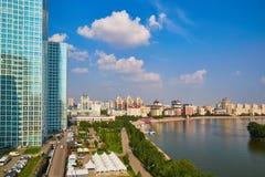 Esil rzeczny bulwar, Astana miasto, Kazachstan - fotografia od wzrosta zdjęcia stock