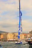Esimit Europa 2 de winnaar van de regatta van 46° Barcolana, Triest Royalty-vrije Stock Afbeeldingen