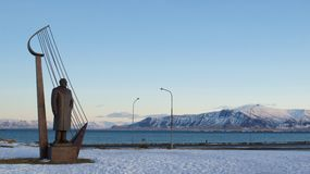 Esja Mountain Range with Einar Benediikisson statue of Reykjavik Royalty Free Stock Image