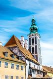 esk Krumlov美丽如画的老捷克镇  老街道城镇 库存图片