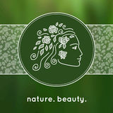 Żeńska twarz jako logo w liniowym stylu Fotografia Royalty Free