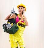 Żeński pracownik budowlany Zdjęcia Royalty Free