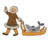 Eskimå med fisken vektor illustrationer