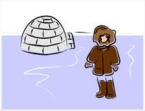 Eskimå och igloo Arkivfoto